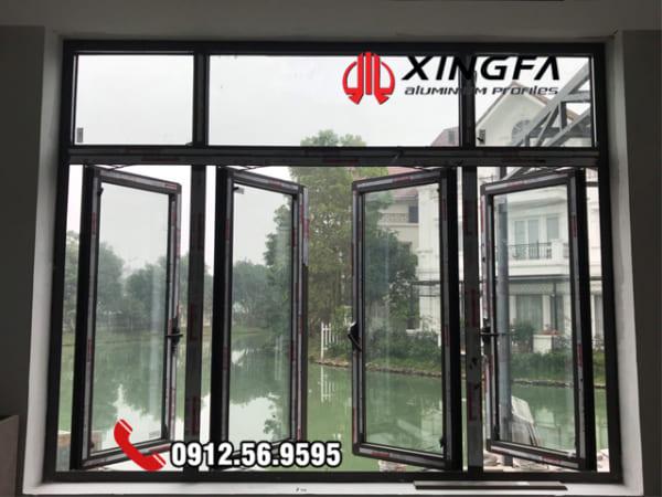 cửa sổ nhôm mở quay 4 cánh